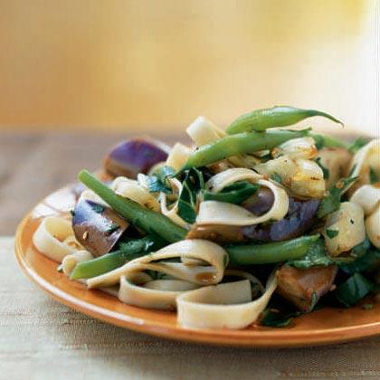 Eggplant and Onion Noodle Salad with Warm Soy-Rice Vinaigrette
