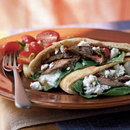 <p>Greek Steak Pitas with Dill Sauce</p>