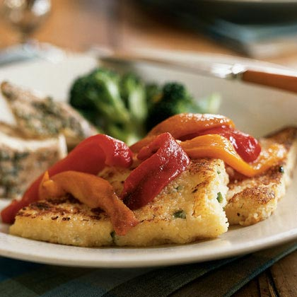 Cheddar Grit Cakes with Roasted Peppers