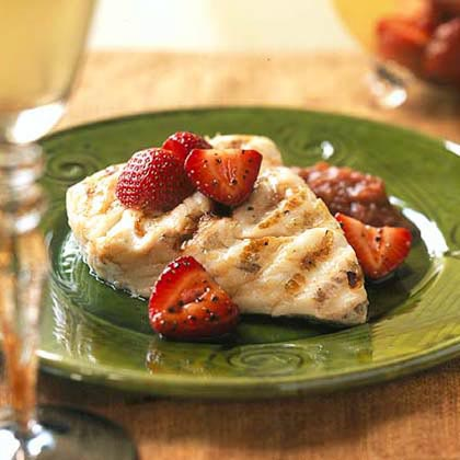 Grilled Pacific Halibut with Rhubarb Compote and Balsamic Strawberries Recipe