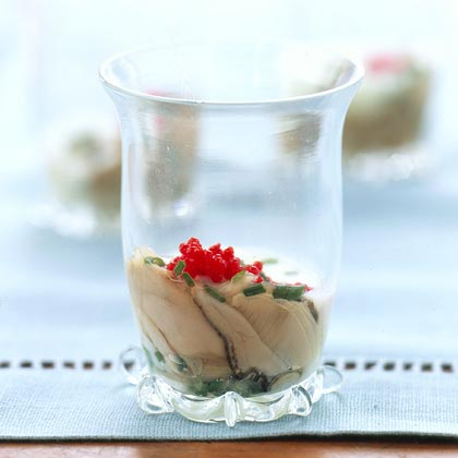 Oyster Shooter with Cucumber Sauce