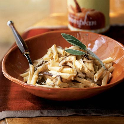 Pasta with Mushrooms and Pumpkin-Gorgonzola Sauce RecipeServe a light pasta dish with a luscious cream sauce. Chopped sage, Gorgonzola cheese, and canned pumpkin add robust flavor to the meatless main dish.