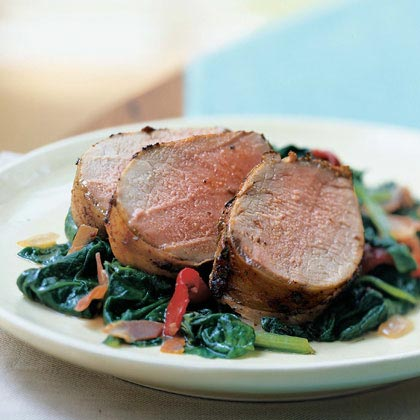 Pork Tenderloin on a Bed of Spinach, Piquillo Peppers, and Prosciutto Recipe