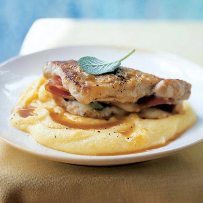 Pork Saltimbocca with Polenta