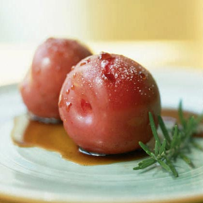 Sugar-Roasted Plums with Balsamic and Rosemary Syrup Recipe
