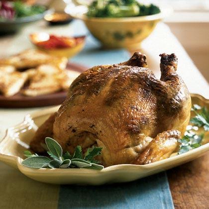 Sage Pesto-Rubbed Roast Chicken