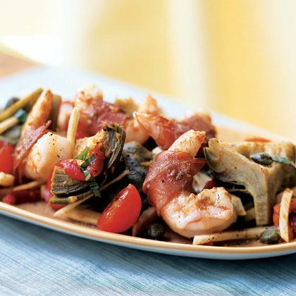 Prosciutto-Wrapped Shrimp on Artichoke, Fennel, and Tomato Salad