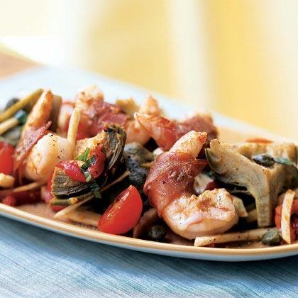 Prosciutto-Wrapped Shrimp on Artichoke, Fennel, and Tomato Salad Recipe