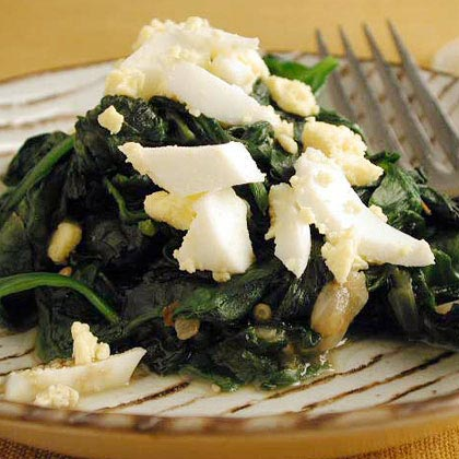 Sautéed Spinach with Chopped Egg
