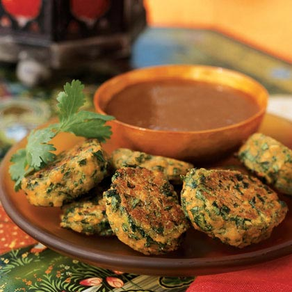Lentil and Spinach Puffs with Plum-Date Dip Recipe