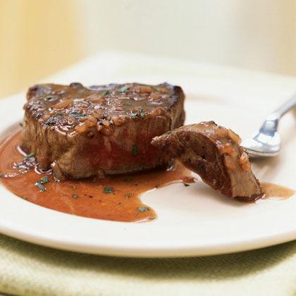 Beef Tenderloin Steaks with Red Wine-Tarragon Sauce Recipe