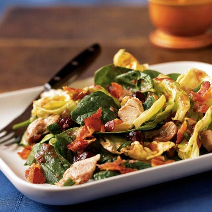 Warm Turkey and Spinach Salad with Crispy Pancetta and Cranberry Vinaigrette