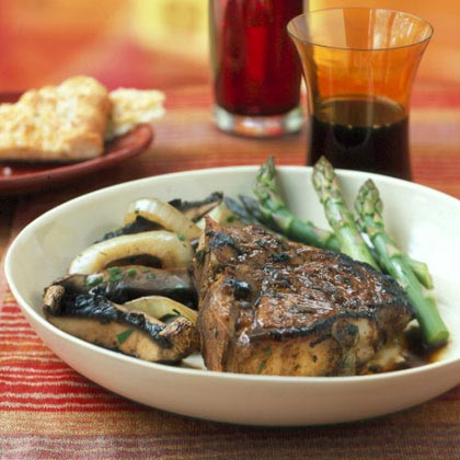 Veal Chops with Sage-Balsamic Sauce and Warm Mushroom Salad