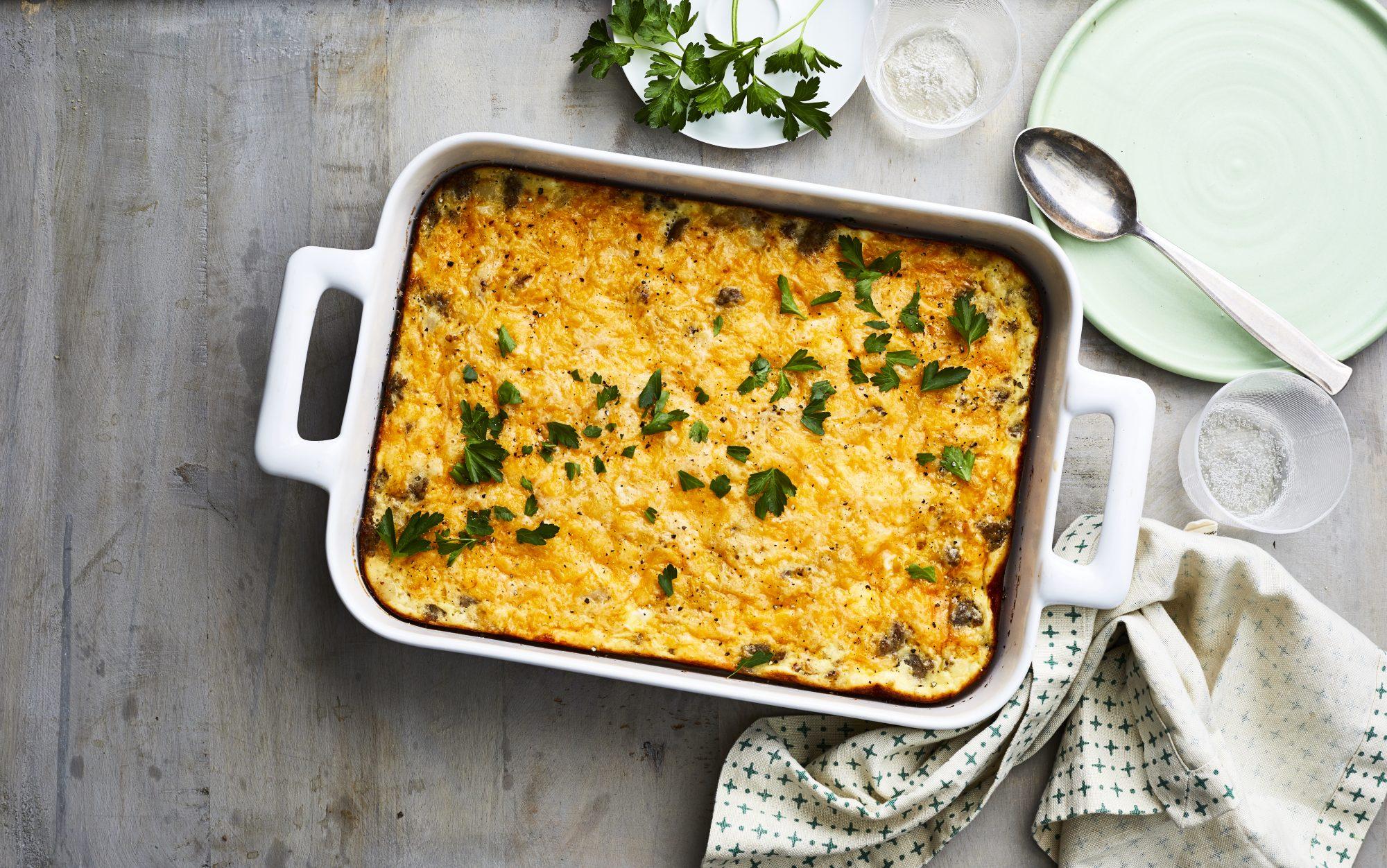Make ahead vegetarian breakfast casserole with hash browns