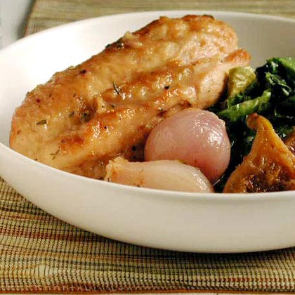 Chicken Braised with Figs on Wilted Escarole Recipe