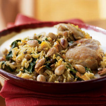 Chicken and Basmati Rice Pilau with Saffron, Spinach, and Cardamom Recipe