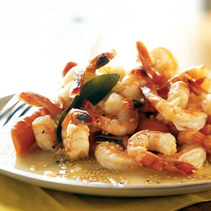Poached Shrimp with Bay Leaves and Lemon