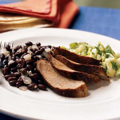 Cumin-Spiced Pork with Avocado-Tomatillo Salsa