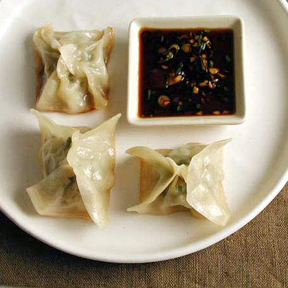 Chicken and Lemon Pot Stickers with Soy-Scallion Dipping Sauce Recipe