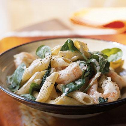Pasta with Spinach, Nutmeg, and ShrimpRecipe