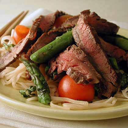 Asian Noodles with Asparagus and Shrimp Recipe