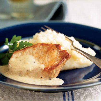 Pork chops with country gravy mashed potatoes recipe myrecipes pork chops with country gravy and mashed potatoes ccuart Gallery