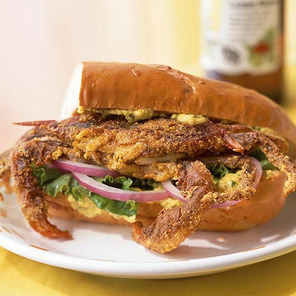 Cajun-Spiced Soft-Shell Crab Sandwich with Yellow Pepper and Caper Aioli Recipe