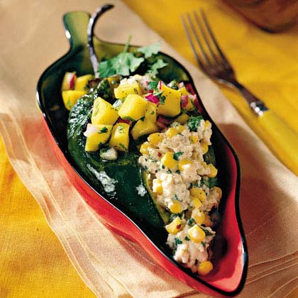 Crab-and-Goat Cheese Poblanos With Mango Salsa Recipe