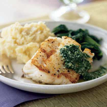 Pan seared cod with basil sauce recipe myrecipes for How to cook cod fish in a pan