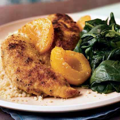 Chicken Tenders with Apricots and Sautéed Spinach Recipe