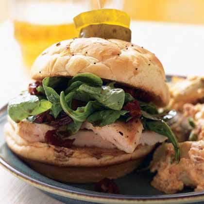 Chicken Sandwich with Arugula and Sun-Dried Tomato Vinaigrette