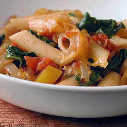 Ziti Baked with Spinach, Tomatoes, and Smoked Gouda