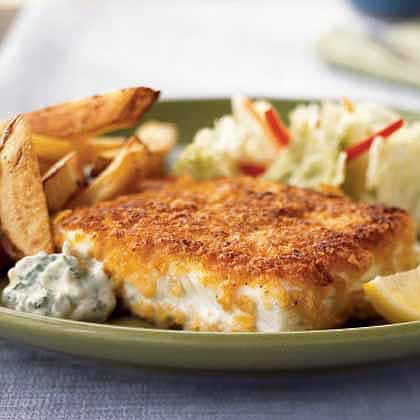 Cornflake-Crusted Halibut with Aioli