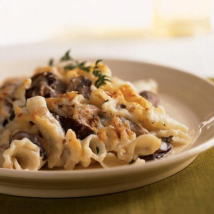 Mushroom Rigatoni Bake RecipeThe splash of sherry in the sauteed mushrooms adds another dimension of flavor to the creminis and shitakes. If you don't have dry sherry, use white wine as a substitute instead of cooking sherry because the cooking contains added salt.