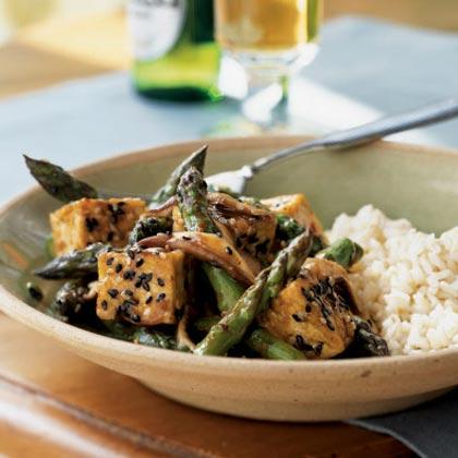Sesame Tofu Stir-Fry over Rice