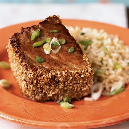 Sesame crusted tuna with ginger peanut rice recipe myrecipes for Barbara seelig