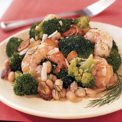 Shrimp Salad with White Beans, Broccoli, and Toasted Garlic