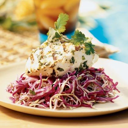 Grilled Fish on Cilantro-Chili Slaw Recipe