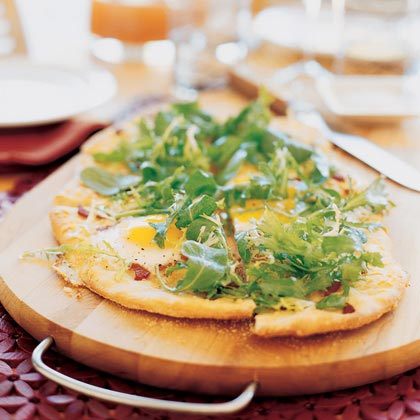 Brunch Flatbread with Eggs, Bacon, and FriséeRecipe