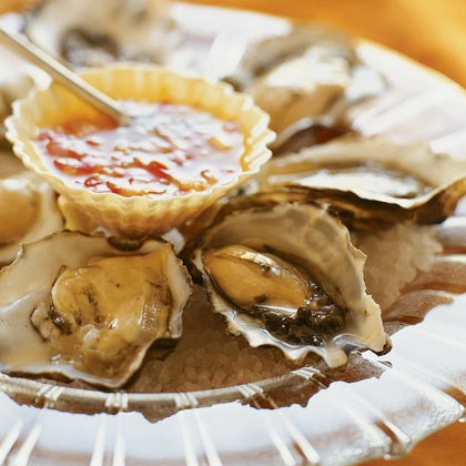 Oysters on the Half-Shell with Tangerine-Chili MignonetteRecipe