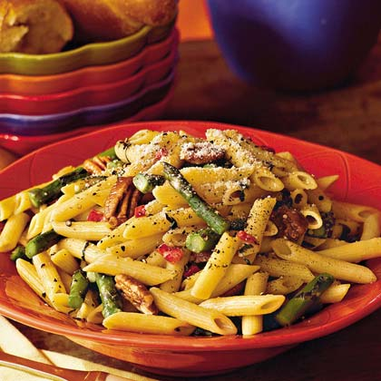 Asparagus Pasta With Toasted Pecans Recipe
