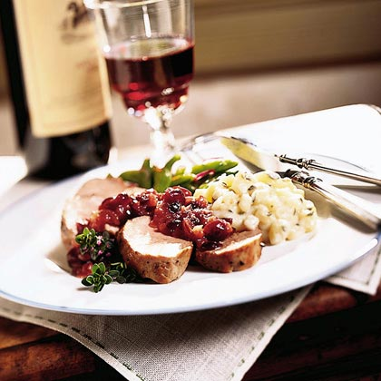 Peppered Pork Tenderloin with Cranberry-Onion Compote Recipe