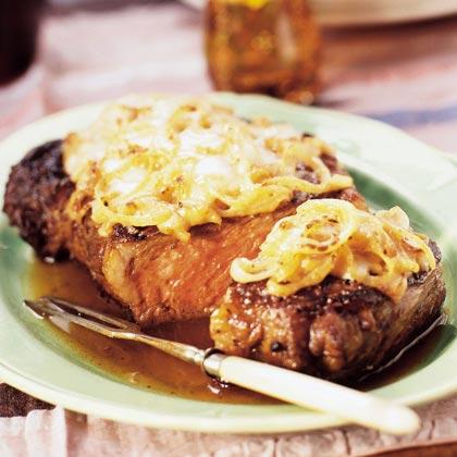 French Onion Rib Eye Steak