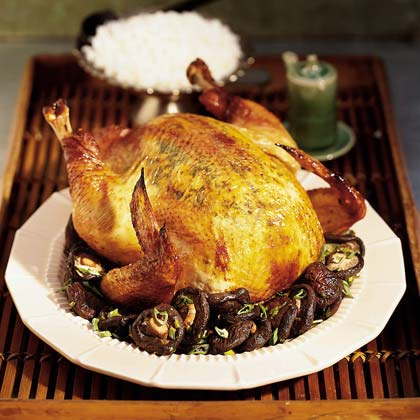 Soy-Ginger Roast Chicken with Shiitake Mushrooms