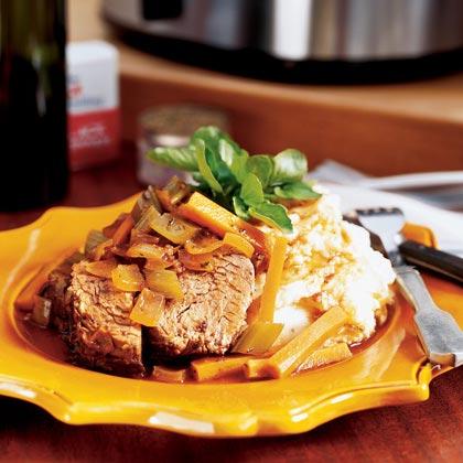 Merlot Pot Roast with Horseradish Smashed PotatoesRecipe