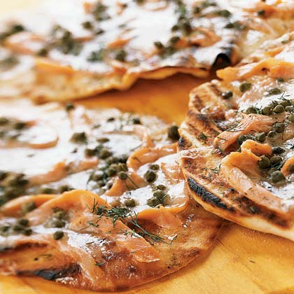 Grilled Pizzettes With Smoked Salmon and Capers Recipe