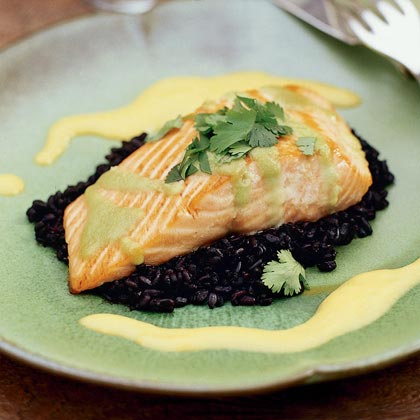 "Seared Wasabi-Glazed Salmon with ""Forbidden"" Rice Recipe"