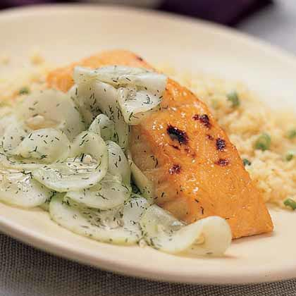 Broiled Salmon with Sweet-and-Sour Cucumbers Recipe
