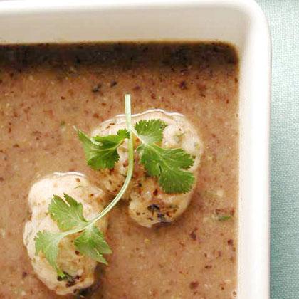Chochoyones in Black Bean Soup