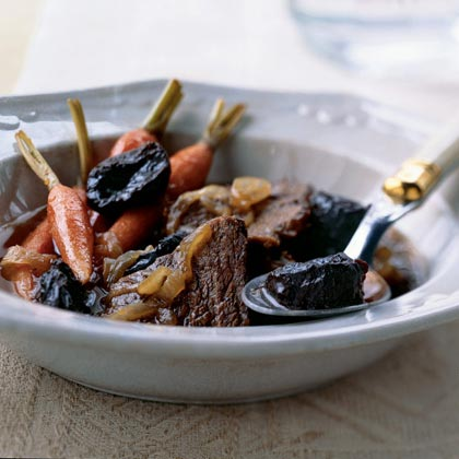 Beef Cooked with Carrots, Onions, and Dried Plums Recipe